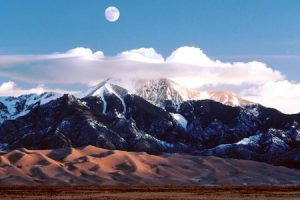 the moon over the great sand dunes